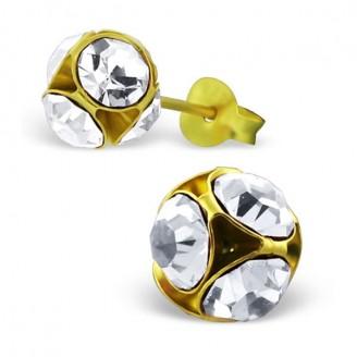 """Stříbrné pozlacené náušnice pecky s krystaly """"Zlatý Aldewine"""". Ag 925/1000"""
